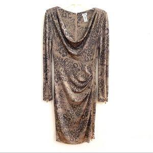 Cache' Animal Print Cowl Neck Sheath Dress